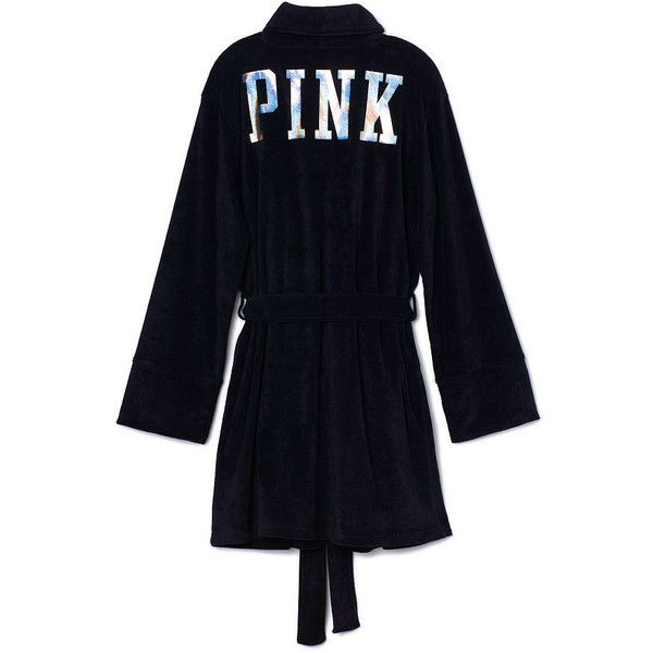 Victoria's Secret Terry Robe,black ($45) ❤ liked on Polyvore featuring intimates, robes, pajamas, pink, victoria's secret, victorias secret pink, victoria secret pink bathrobe, pink robe, victoria secret pink robe and terrycloth bath robe