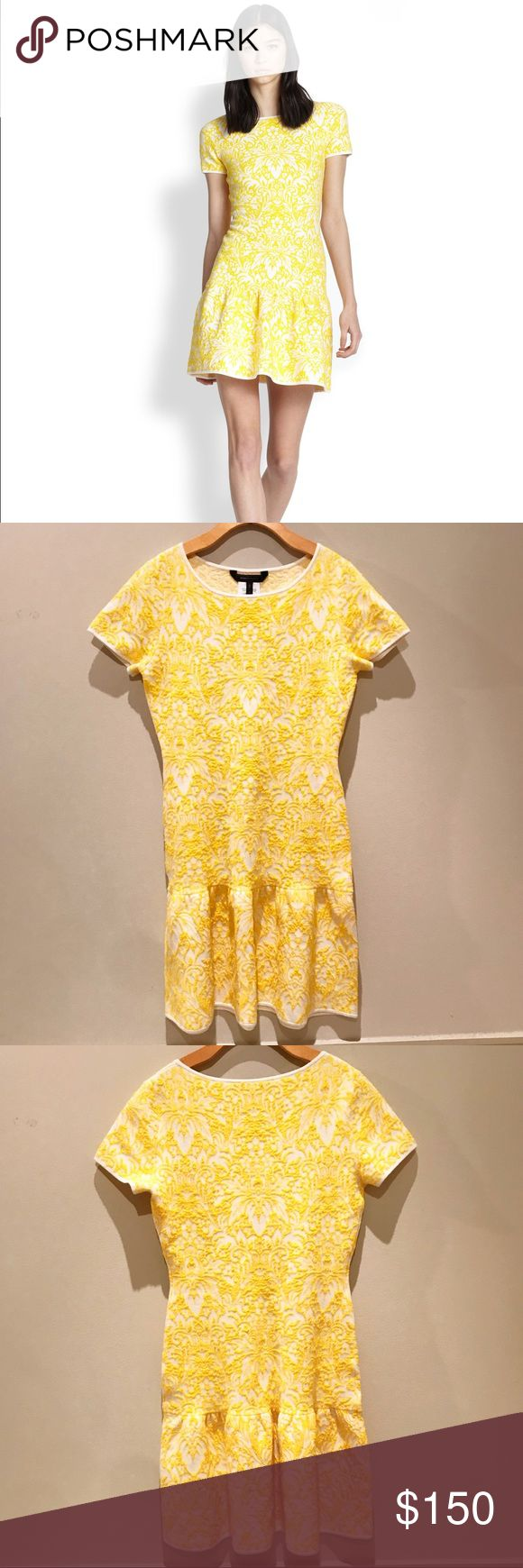 Bambi Puckered Jacquard A-Line Dress Yellow Like new, beautiful, drop waist BCBGMaxAzria dress. Round neck. Short sleeves. Allover puckered jacquard floral pattern. Drop-waist skirt with shirring at seam. Cotton, Nylon, Spandex. BCBGMaxAzria Dresses