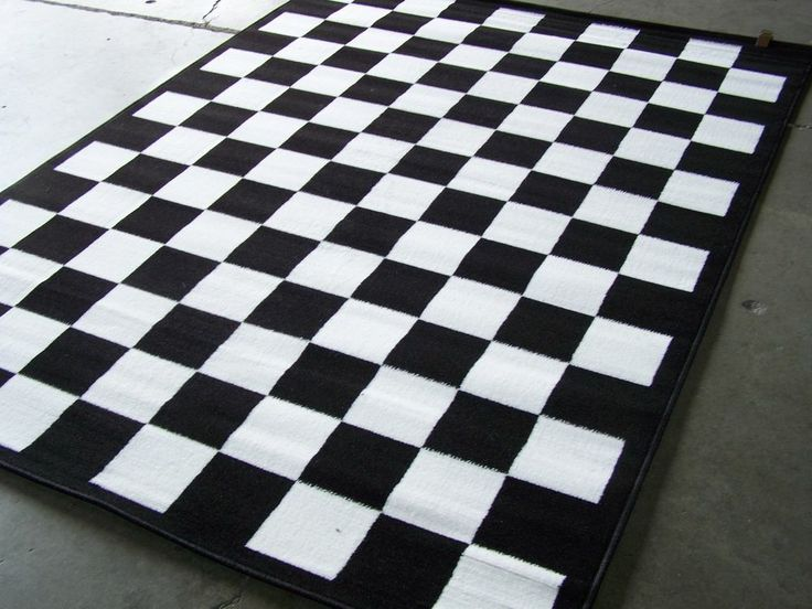 checkered black and white area rug 7 39 x 10 39 nwt office
