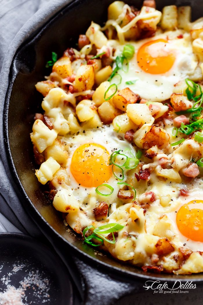 Cheesy Bacon and Egg Hash for breakfast, brunch, lunch or dinner! Easy to make and ready in 30 minutes -- all in one skillet or pan!!