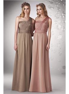 Refined One Shoulder Simple Chiffon Long Dress For Bridesmaid Online