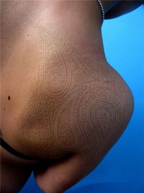 shoulder white ink tattoo design