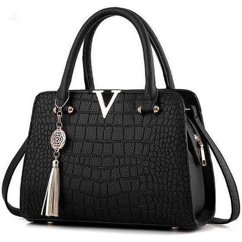 Luxus strukturierte Lederhandtasche