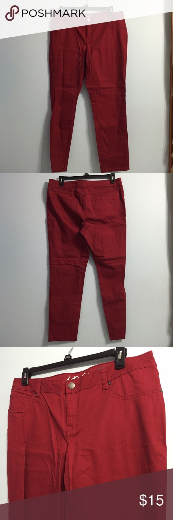 "INC. Red Curvy Fit Skinny Jeans (16) INC. Denim Red Curvy Fit Skinny Jeans in size 16.   Features: Functional pockets on back.  Button and zip close.  Belt loops.   31"" inseam 10"" rise INC International Concepts Jeans Skinny"