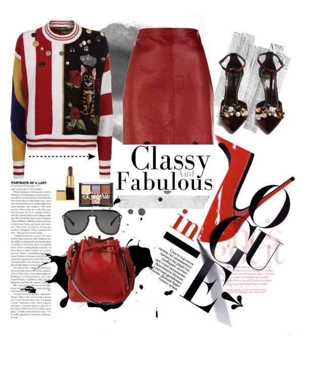 """""""patchwork knit sweater ft. red skirt"""" by saaraahnafisah on Polyvore featuring Dolce&Gabbana, Sandro, Lanvin, Louis Vuitton and Versace"""
