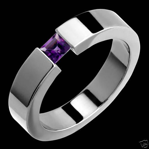 Details about titanium ring w tension set amethyst for Mens wedding rings with birthstones