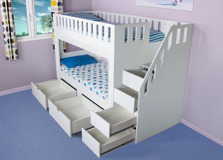 Deluxe Funtime High Sleeper Bunk Bed with Drawers and Stair Drawers - Bunk Beds - Kids Beds - Kids Funtime Beds