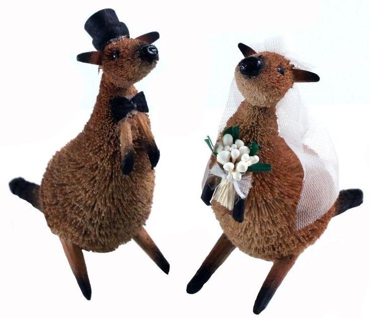 Wedding Cake Topper / Table Ornament - Kangaroo Bride & Groom Australian Animal