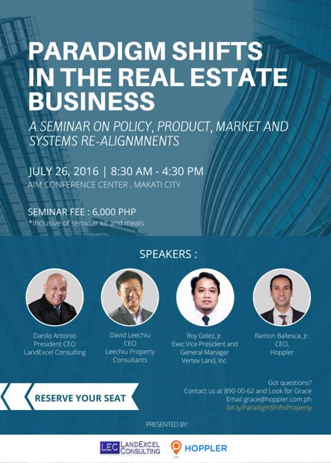 Paradigm Shifts in the Real Estate Business  Upcoming real estate seminar in the Philippines