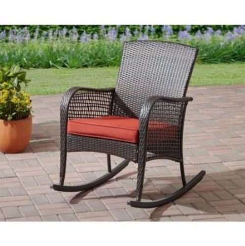 Wicker-Rocking-Chair-Outdoor-Indoor-Red-Seat-Cushion-Rocker-Deck-Patio-Porch-New