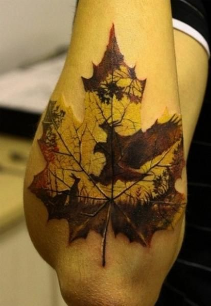 Uncommon Fall Art   Leaf Tattoo with rabbit and hawk silhouettes