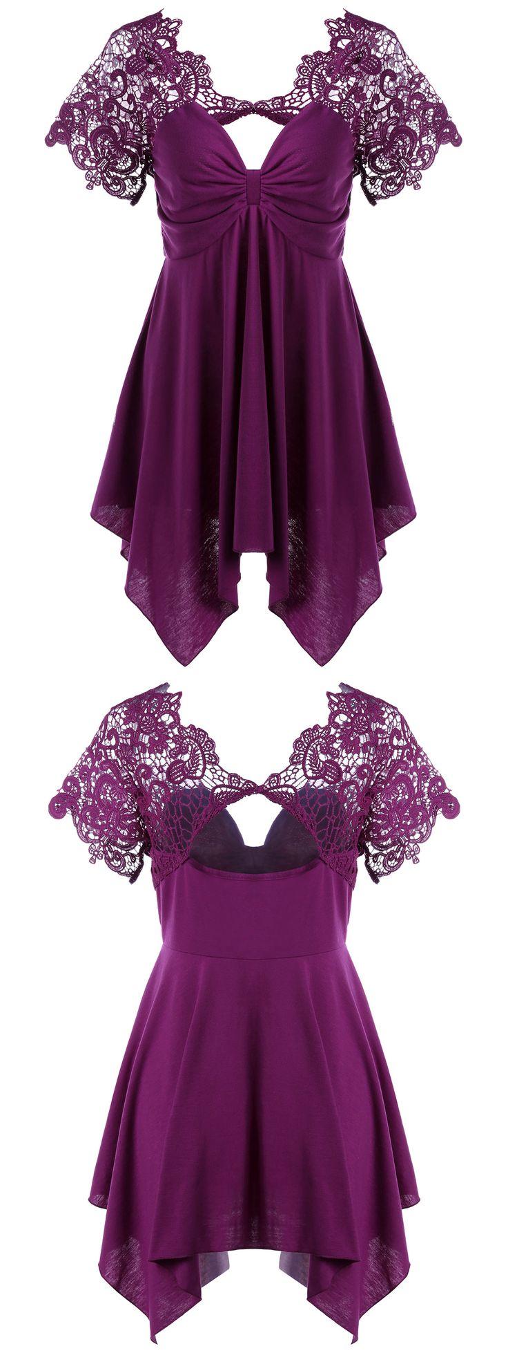 $14.66 Lace Trim Empire Waist Handkerchief T-Shirt