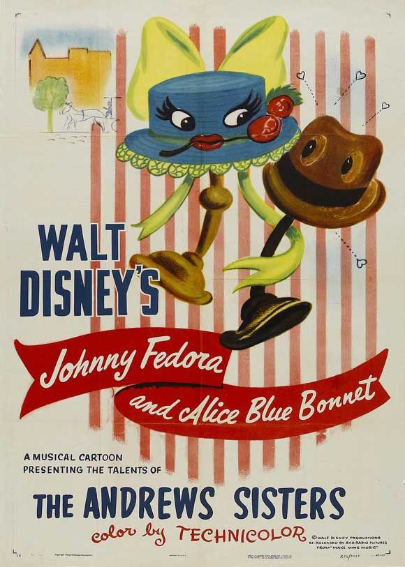 "Make Mine Music short ""Johnny Fedora and Alice Bluebonnet"" disney movie poster, Andrews Sisters"