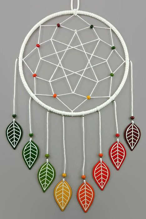 White dreamcatcher with fall leaves, modern dreamcatcher with autumn colors, gradient green yellow orange red marroon fall wall decor - Made on order by @savousepate on Etsy - pinned by pin4etsy.com