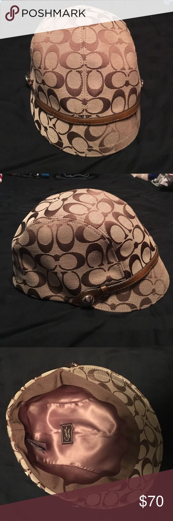 Coach hat Very cute brown Coach hat. Like new condition, worn once.  Some wear marks in the inside brim. $70 obo. Coach Accessories Hats