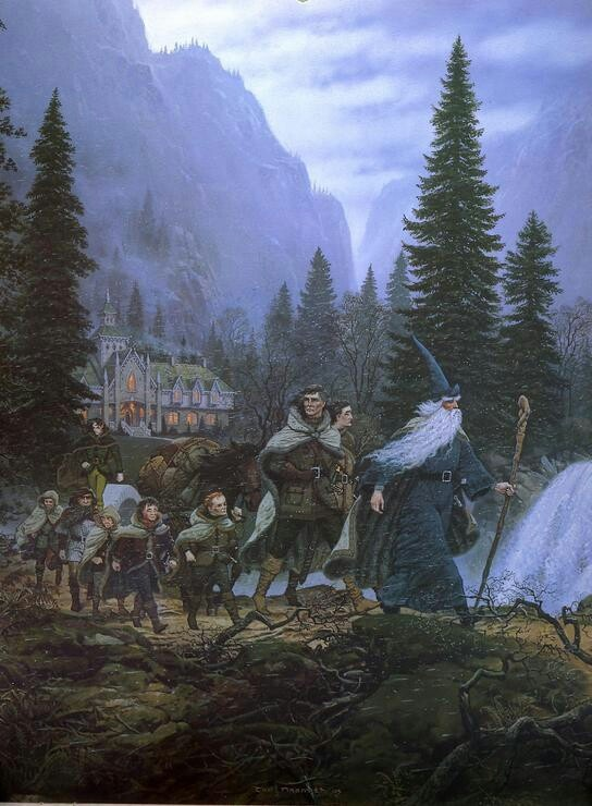 The Fellowship Leaving Rivendell by Ted Nasmith