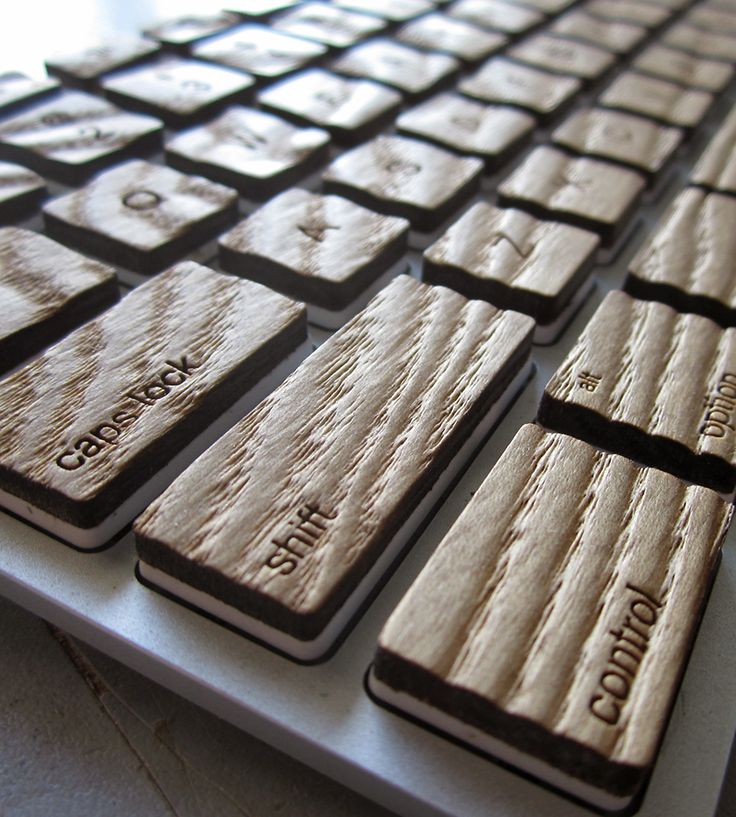 Compact Engrain Wood Apple Keyboard | MICHAEL ROOPENIAN