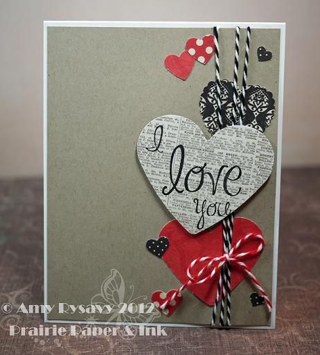 handmade valentine by AmyR ... punched hearts ... red, gray & black theme... baker's twine ... newsprint with sentiment on top ... like the way it uses the papers ....
