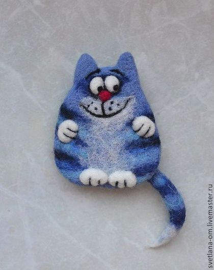 """Валяная брошь """"Синий кот"""" - валяная брошь,коты,магнитик,прикольный подарок"""