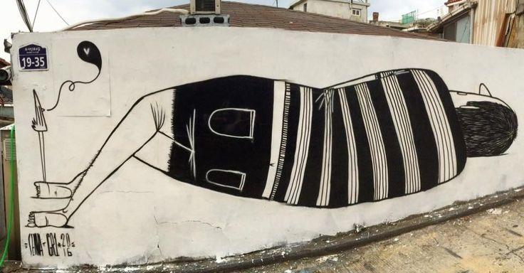 Alex Senna esteve recentemente na Coreia do Sul e pintou vários murais no país asiático, em cidades como Seul e Dongducheon. O grafite acima ele pintou em um muro do bairro de Itaewon, na capital sul-coreana