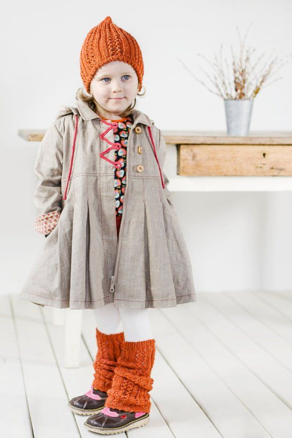 Back to school outfit Waterproof hooded raincoat Girls linen jacket with red details Organic linen raincoat for spring and autumn
