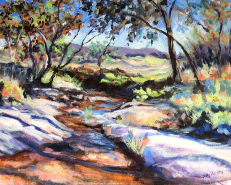 clear Creek Eldorado Australia Acrylic on canvas - Artist Denise Ellison - inspired by visiting Canadian artist Brent Laycock visit his website his work is fantastic (SOLD)