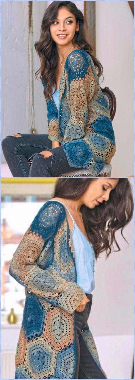 Crochet Summer Hexagon CardiganFree Pattern - Crochet Women Sweater Coat & Cardigan Free Patterns