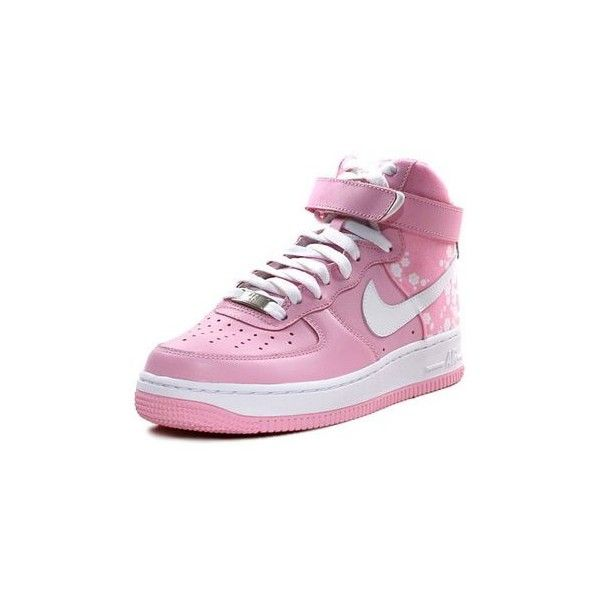 pink nike air force ones : picture9 ❤ liked on Polyvore featuring shoes, sneakers, nike, zapatos, pink shoes, nike footwear, nike trainers, pink trainers and nike shoes