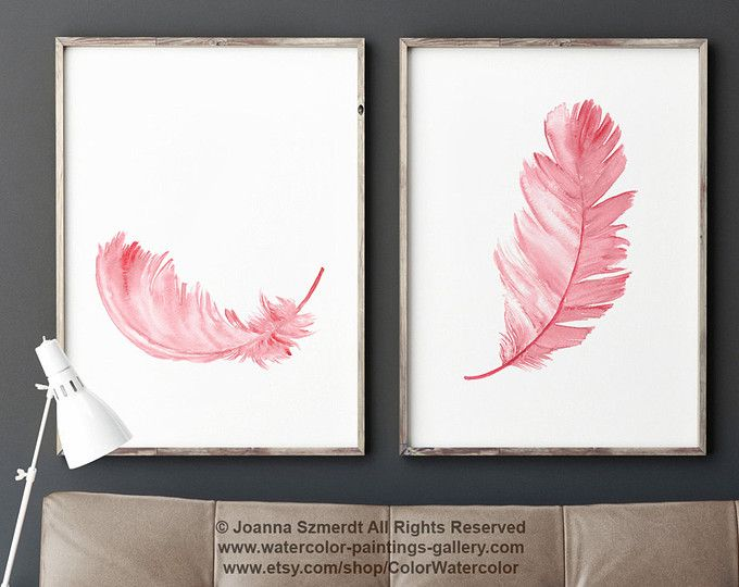 Two Feathers Painting Set 2 Nursery Baby Girl Wall Decor, Pink Kids Room Painting, Tutu Feather Illustration, Ballerina Watercolor Painting