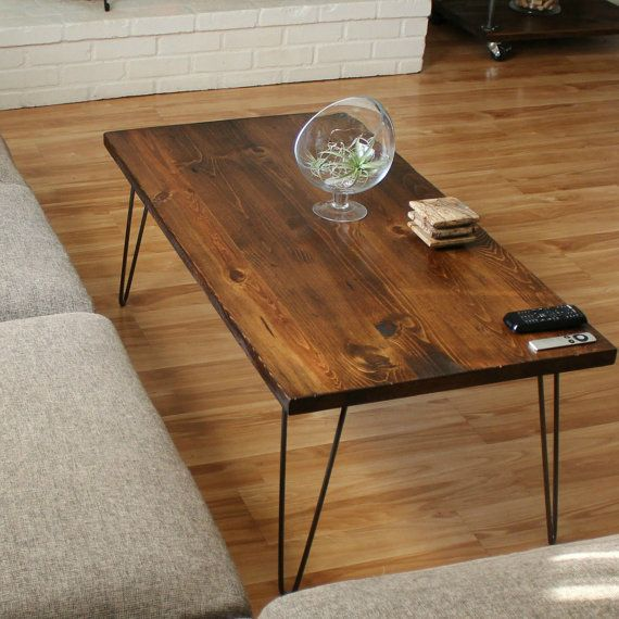 Wood Coffee Table with Hairpin Legs - Industrial Coffee Table - Furniture