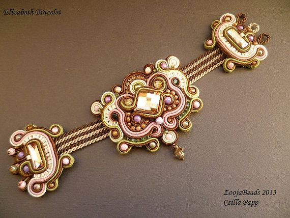 Soutache Bracelet Soutache Designer Bracelet brown door ZoojaDesign, $125,00