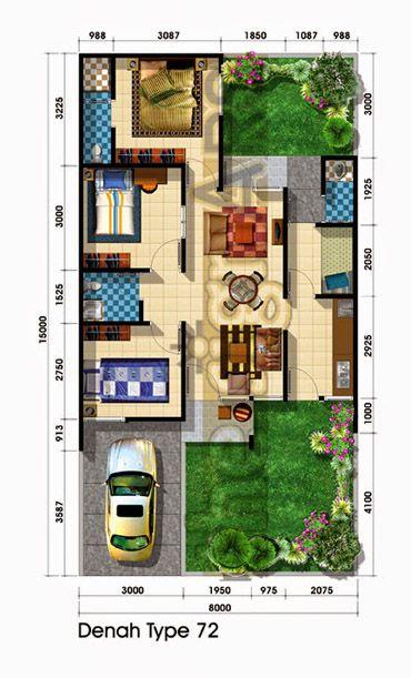 Pengen dapur tempat cuci baju dijejerin di sudut kanan kanan, dengan tangga ke lantai dua (jadi angin tembus dari depan keblakang)...