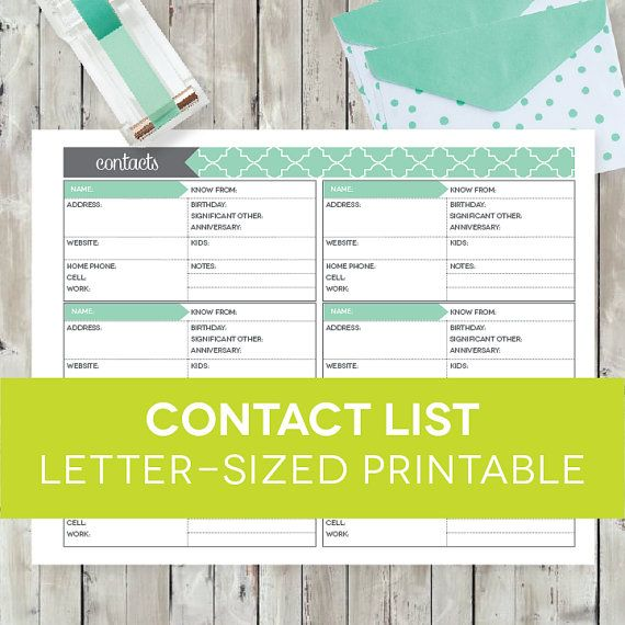Contact List PRINTABLE EDITABLE - Address Book Page Record Planner, Home Organization Binder