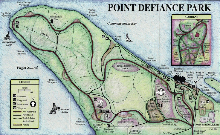 Pt. Defiance map including erstwhile Never-Never Land.: Octopuses Living, Narrow Bridges, Never Nev Land, Giant Octopuses, Beautiful Area, Includ Erstwhil, Erstwhil Never Nev, Maps Include, Defianc Maps