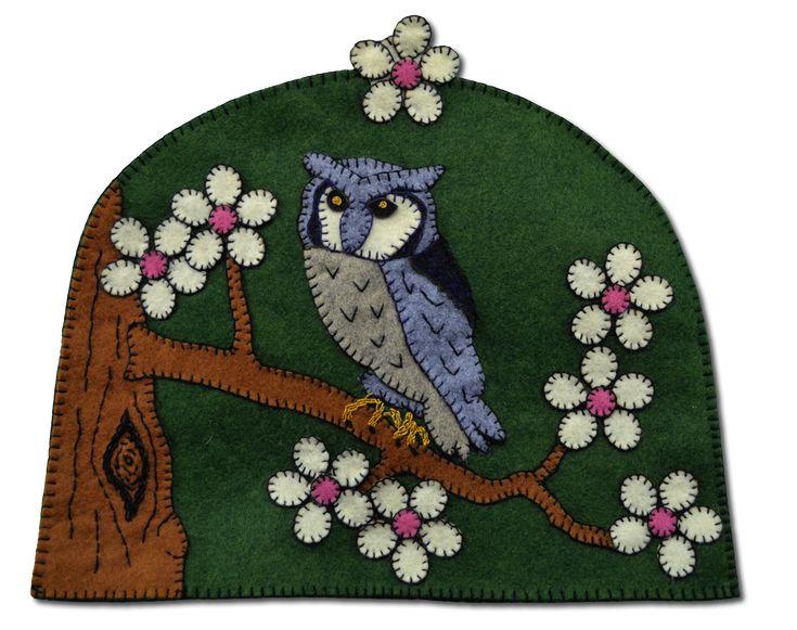 Lumenaris | Products | Felt Kits | Tea Cozies | Owl Cherry Blossom ...