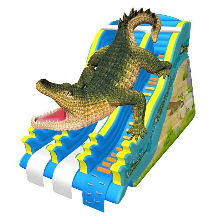Название: Водный батут-горка «Крокодил Данди» Категория: Надувные аттракционы Источник: http://batutmaster.ru/product/naduvnojj-batut-gorka-krokodil-dandi Описание:   Громадный крокодил с размерами в несколько десятков раз превышающими натуральную особь не покажется злым или хищным, а �