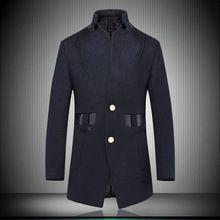 invierno nuevos hombres de abrigo de lana más el tamaño Xxxl alta calidad Balck para hombre abrigo de cachemir de negocios Patchwork abrigo