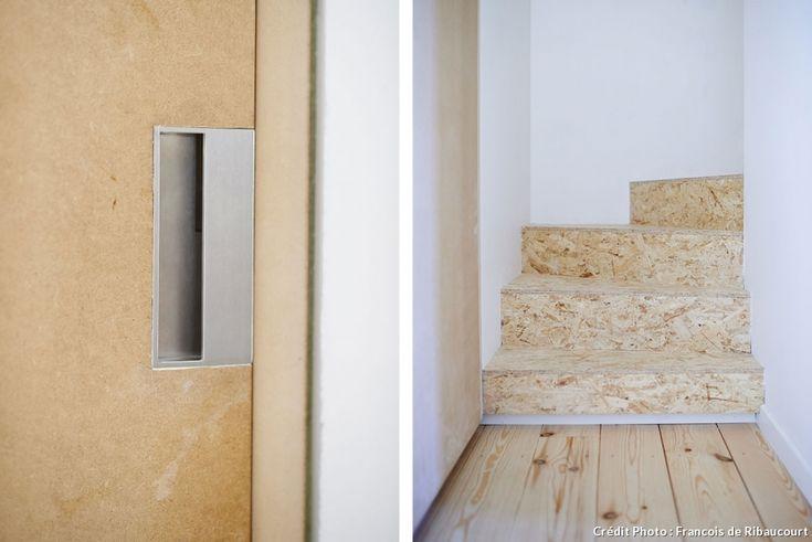 Panneaux de bois aggloméré, OSB pour habiller un escalier.
