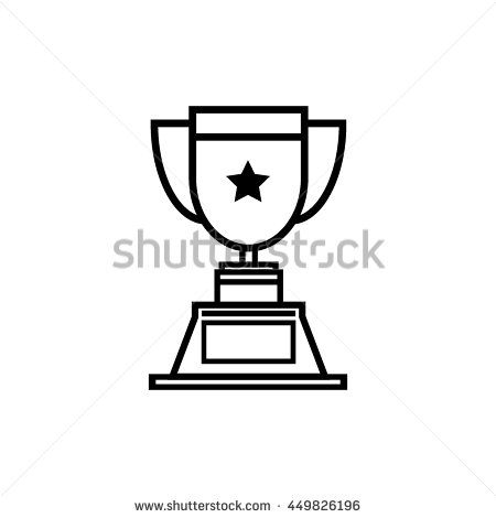 Trophy star icon, line art vector Illustration
