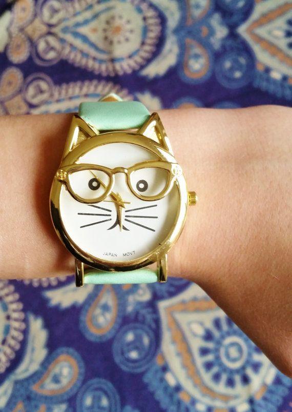 Minze grün Katze Armbanduhr Katze-Schmuck von FeathersandStars