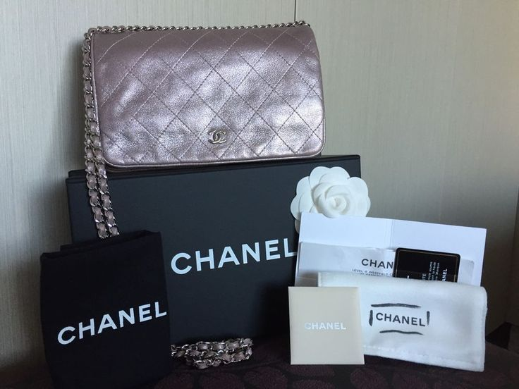 Chanel Wallet on Chain WOC Metallic Soft Pink Calf Skin Clutch Bag - Authentic