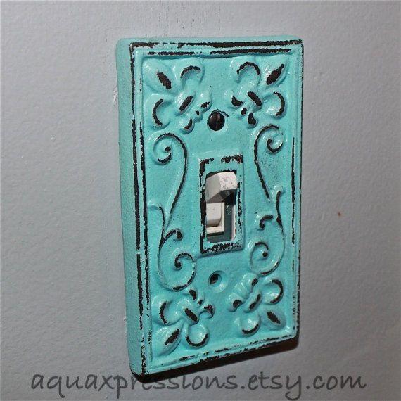 Aqua Decorative Light Switch Plate/ Single by AquaXpressions