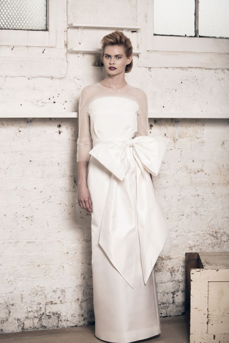 Modern wedding dress for the contemporary bride. Carey dress. Silk duchess skirt and silk morocain top with french lace and pleated tulle detail.