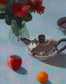 """Silver Teapot and Others by Charmaine P Jackson Oil on 10""""x8"""" linen"""