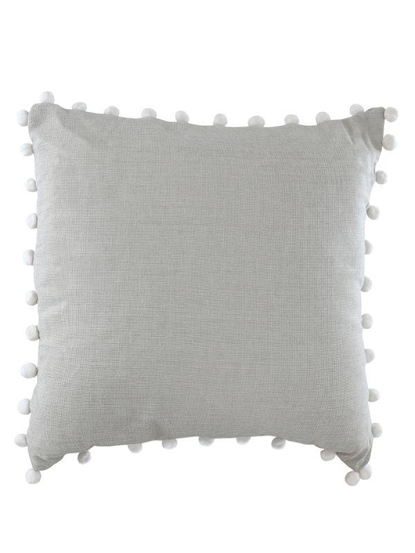 Pom Pom Cushion - Pale Grey