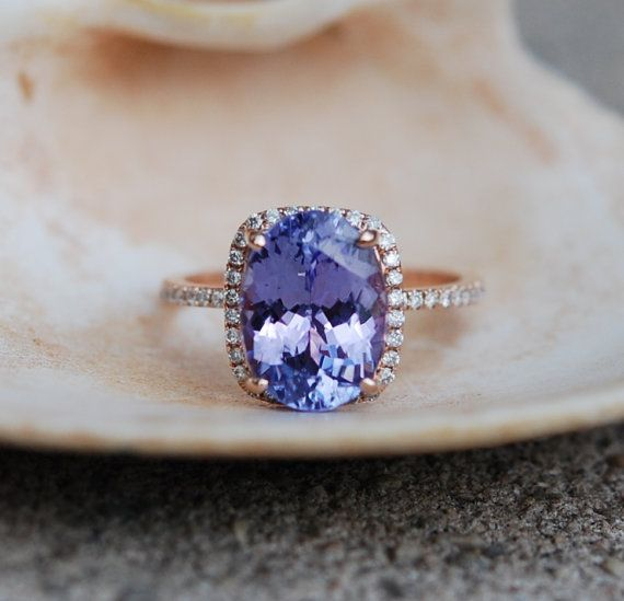 Tanzanite ring. Rose gold engagement ring. Eidelprecious ring.  This Tanzanite is natural certified cushion cut stone. The cut is mesmerizing,