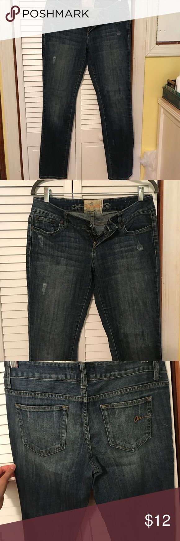 "American Rag jeans Medium wash jeans with fading and distressing in places, cute and comfortable, fits more like straight leg not super skinny jeans despite ""premium skinny"" label American Rag Jeans Skinny"
