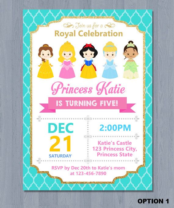 Princess Digital Invite  * This is printable file and no physical items will be mailed to you.  --------------★★★ PURCHASING INSTRUCTIONS ★★★--------------  * Purchase this item and complete checkout.  Upon check-out, please leave the following information in NOTE TO SELLER:  1. Name & Age 2. Party Date 3. Time 4. Address & Venue 5. RSVP Information (phone number and/or email address) 6. Any other details you would like to include  * Size of Card is 5 x 7 inch (4 x 6 inch upon request)…