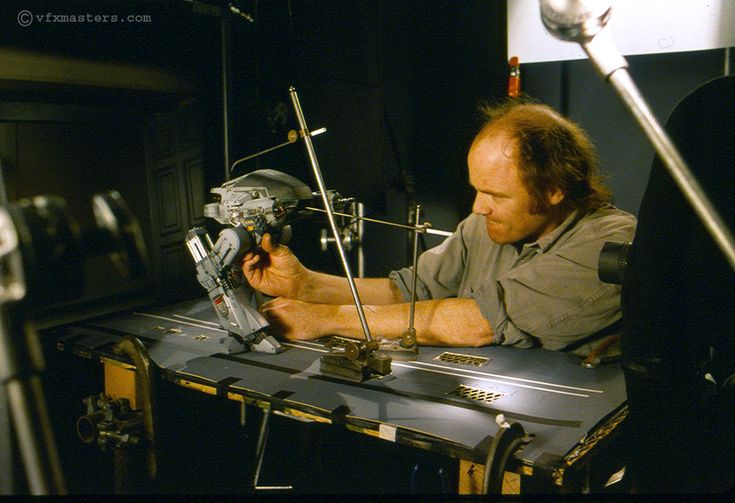 Phil Tippet working on the ED-209 stop motion animation for RoboCop.