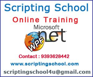 Scripting School Online Trainings provides the best Windows Presentation Foundation Online Training in Hyderabad India with real time experts and with real time scenarios. For more details on Windows Presentation Foundation online training please contact 9393628442 or else mail to scriptingschool4u@gmail.com. Windows Presentation Foundation Online training in India